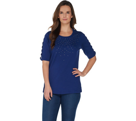Quacker Factory Rhinestone Lattice Elbow Sleeve Knit T-Shirt