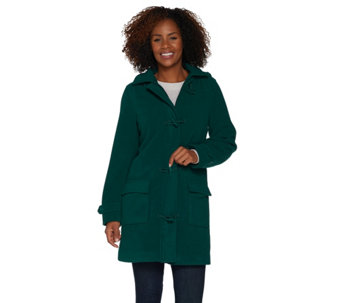 Denim & Co. Microfleece Fully Lined Toggle Coat w/ Removable Hood - A3122