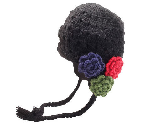 Nirvanna Designs Women's Crochet 3-Flower Earflap Hat