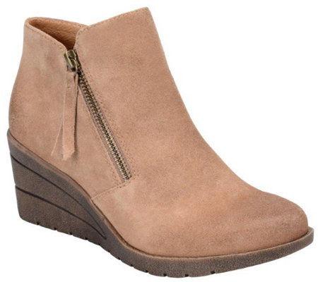 Sofft Leather Wedge Ankle Boots - Salem