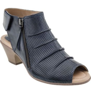 Earth Leather Peep Toe Sandals - Hydra