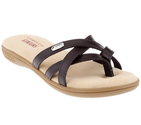 Bass Leather Multi-Strap Toe Thong Sandals