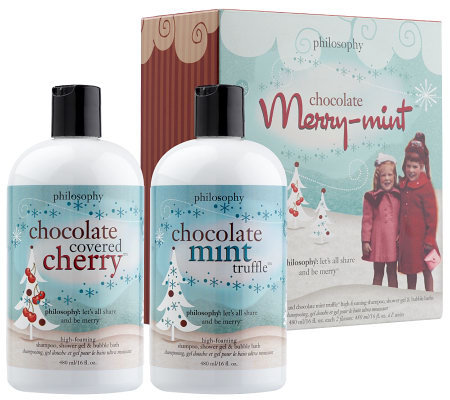philosophy merry-mint chocolate box 3-in-1 shower gel duo, 16 oz.