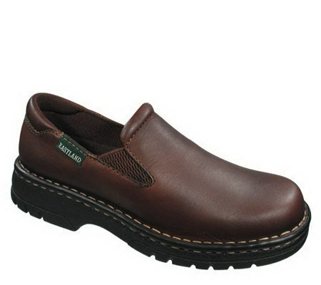 Eastland WomLeather Slip-ons with Lug Sole - Newport Brown