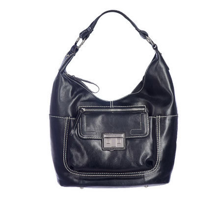 Tignanello Glazed Leather Hobo Bag with Front Pockets