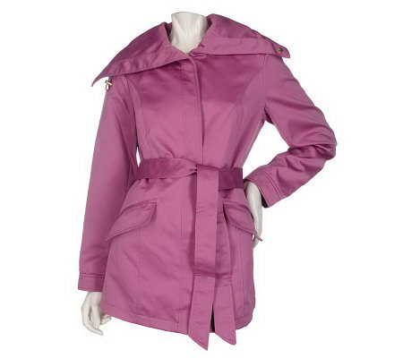 Dennis Basso Water Resistant Satin Jacket w/Adjustable Collar