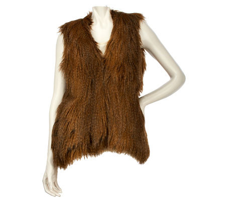 Wendy Williams Faux Fur Vest with Hook & Eye Closure