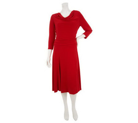 George Simonton Milky Knit Dress with Draped Neck & Seam Detail