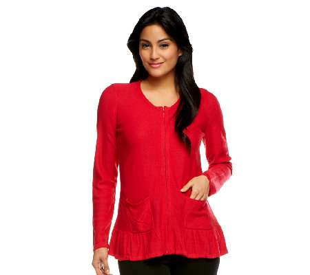 Joan Rivers Long Sleeve Zip Cardigan with Peplum Detail