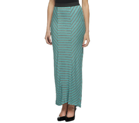 Lisa Rinna Collection Petite Striped Panel Long Knit Skirt