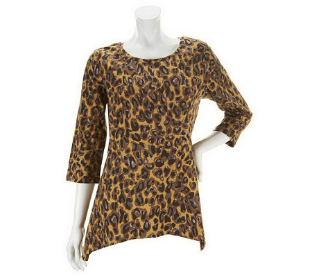 """As Is"" Denim & Co. 3/4 Sleeve Animal Print Trapeze Knit Top"