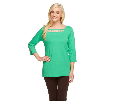 Quacker Factory Square Neck 3/4 Sleeve Rhinestone Cutout T-shirt