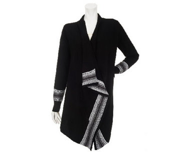 """As Is"" Denim & Co. Drape Front Cardigan with Fair Isle Border - A255023"
