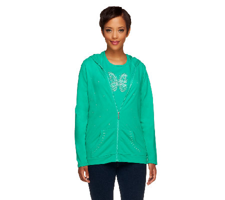 Quacker Factory French Terry Jacket and Sparkle Knit T-shirt Set