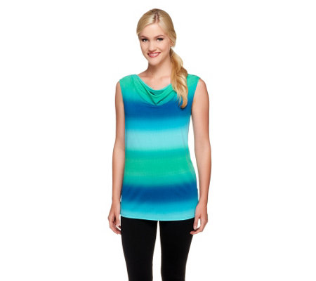 Susan Graver Printed Liquid Knit Drape Neck Top
