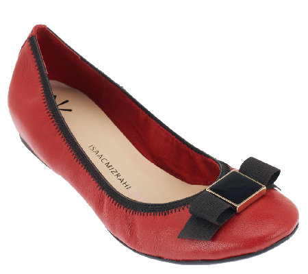Isaac Mizrahi Live! Leather Ballet Flats with Bow