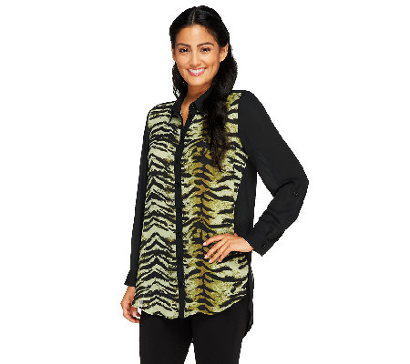 Susan Graver Printed & Solid Georgette Long Sleeve Button Front Shirt