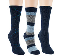 Passione Set of 3 Cushioned Foot Luxury Blend Crew Socks - A258723