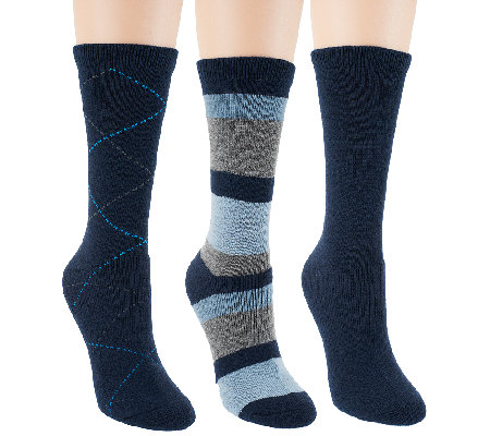 Passione Set of 3 Cushioned Foot Luxury Blend Crew Socks