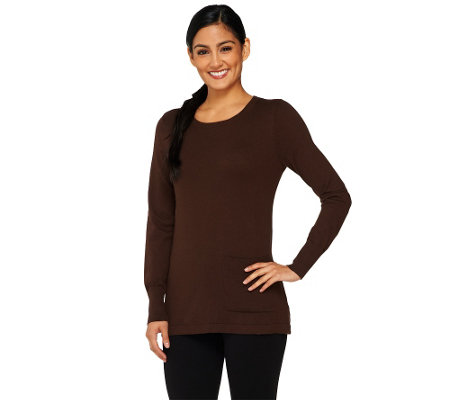 LOGO by Lori Goldstein Cotton Cashmere Sweater with Front Pocket
