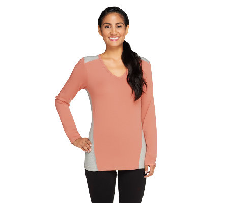 Denim & Co. Active V-neck Color-Block Top