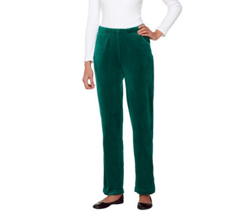 Quacker Factory Regular Velour Pants with Pockets - A259323