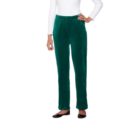 Quacker Factory Regular Velour Pants with Pockets
