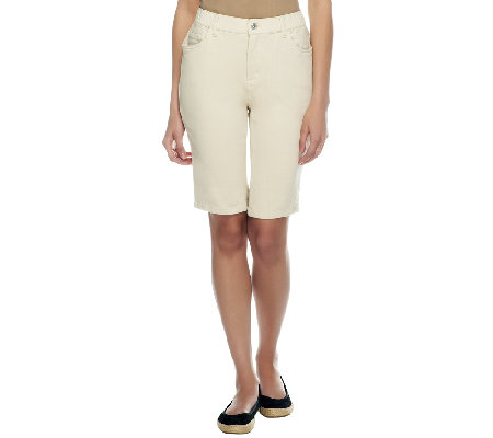 """As Is"" Denim & Co. ""How Comfy "" Bermuda Shorts with Pockets"