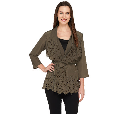 Dennis Basso Woven Perforated Drape Front Cardigan