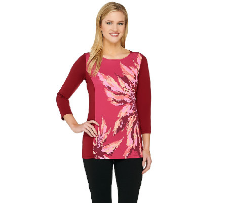 Bob Mackie's 3/4 Sleeve Monet Floral Printed and Color-Block Top