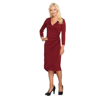 """As Is"" Susan Graver Premier Knit 3/4 Sleeve Surplice Wrap Dress"