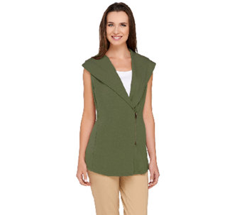 Lisa Rinna Collection Shawl Collar Asymmetric Zip Front Vest - A264723