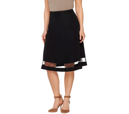 Dennis Basso Midi Skirt with Mesh Detail