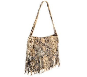 """As Is"" Muxo by Camilla Alves Leather Zip Top Fringe Hobo Bag - A266623"