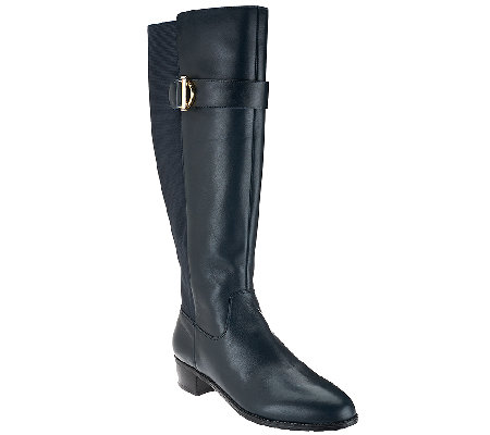 Isaac Mizrahi Live! Medium Calf Leather Riding Boots