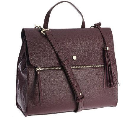 Isaac Mizrahi Live! Nolita Pebble Leather Zipper Satchel