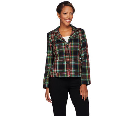 Joan Rivers Tartan Plaid Blazer w/ Long Sleeves