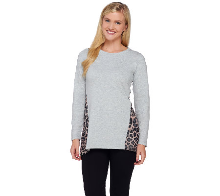 LOGO Lounge by Lori Goldstein French Terry Top with Side Printed Godets