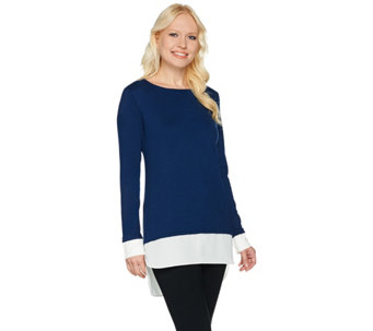 Susan Graver Rayon Nylon Sweater with Feather Weave Combo - A269223