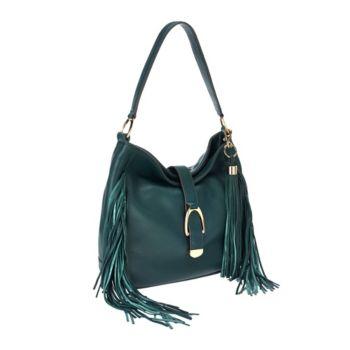 G.I.L.I Leather Stirrup Hobo Bag with Fringe
