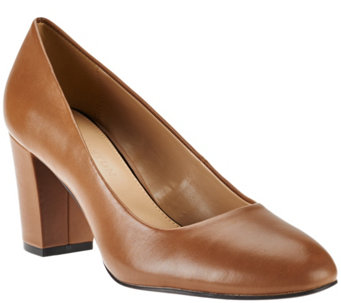 H by Halston Leather Block Heel Pumps - Lenna - A271623