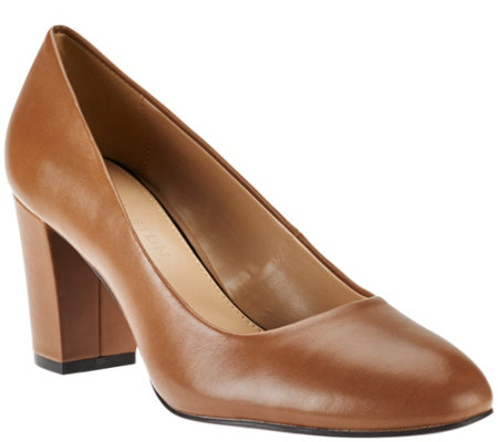 H by Halston Leather Block Heel Pumps - Lenna