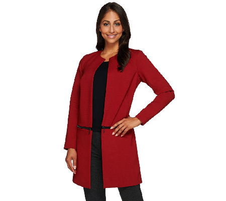 Kelly by Clinton Kelly Open Front Zip-Off Ponte Jacket