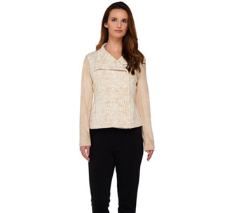 H by Halston Asymmetric Zip Motorcycle Jacket w/ Faux Suede Sleeves - A273323