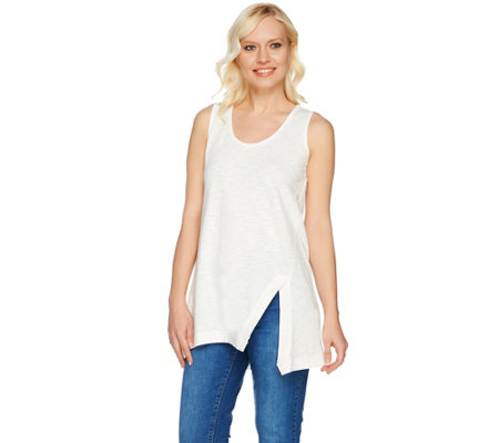 LOGO Lounge by Lori Goldstein Cotton Slub Knit Tank with Notch Detail