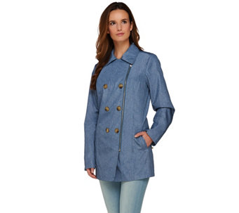 Dennis Basso Water Resistant Denim Print Trench Coat - A275523