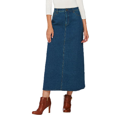 """As Is"" Denim & Co. Stretch Denim 5 Pocket Boot Skirt"