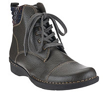 """As Is"" Clarks Leather Ankle Boots with Flannel Detail - Whistle Bea - A276123"