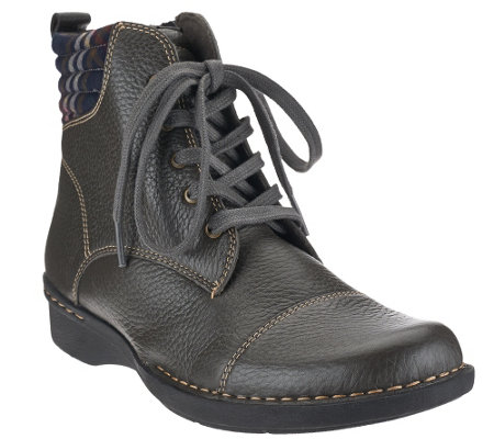 """As Is"" Clarks Leather Ankle Boots with Flannel Detail - Whistle Bea"