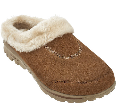"""As Is"" Skechers GOwalk Suede Faux Fur Clog w/ Memory Form - Embrace"